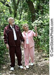 Los veteranos activos caminan por el bosque