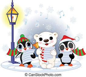 Los villancicos navideños un oso polar de 1213