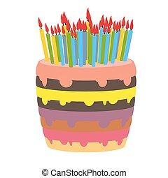 lotes, fondo., cumpleaños, dulzor, pastel, candles., blanco, quemadura, producto, hermoso, confitería, terreno, holiday.