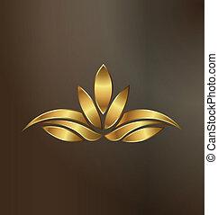 Loto de oro de lujo, logotipo de la planta
