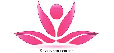 loto, rosa, yoga, figura, logotipo