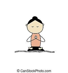 loto, yoga, mujer, practicar, postura