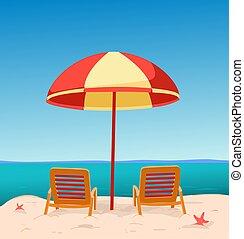 loungers, playa, debajo, umbrella., sol