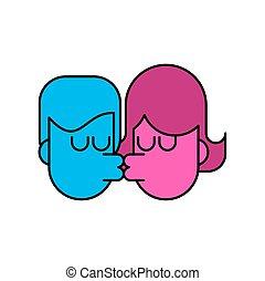 Love Kiss chico y chica aislados. Amantes besando pasión