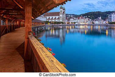 lucerne., de madera, noche, salida del sol, famoso, kapellbrucke, illumination., puente