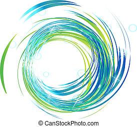 luces azules, brillante, logotipo, ondas