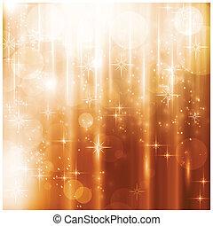 Luces brillantes y tarjeta de Navidad