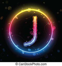 Luces de arco iris alfabeto en el botón del círculo