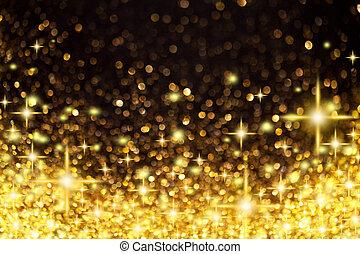 Luces de Navidad de oro y estrellas de fondo
