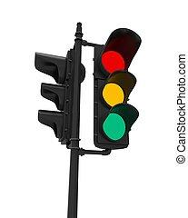 Luces de tráfico aisladas en blanco