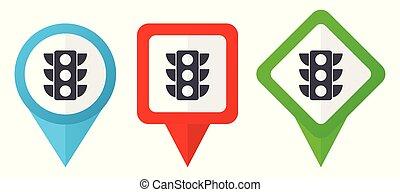 Luces de tráfico rojas, azules y verdes vectores indican iconos. El conjunto de marcadores coloridos aislados en fondo blanco fácil de editar.