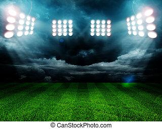luces, estadio, noche
