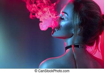 luces, fumar, retrato, brillante, niña, moda, smoke., colorido, modelo, arte, mujer, belleza