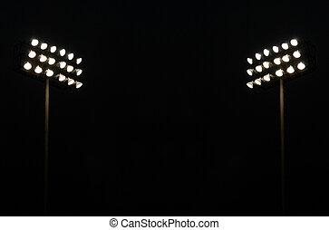 luces, gemelo, estadio