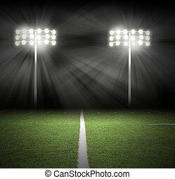 luces, juego, negro, estadio, noche