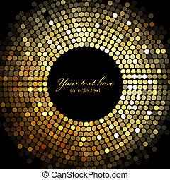 luces, marco, vector, oro, disco