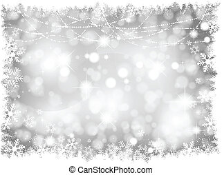 luces, plata, plano de fondo, navidad