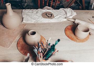 lugar de trabajo, arcilla, master's, creativo, lío, alfarería, mesa.