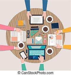 Lugar de trabajo del equipo creativo en diseño plano