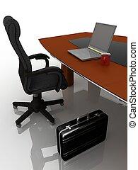 Lugar de trabajo en la mesa para las negociaciones