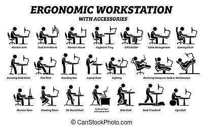 lugar de trabajo, ergonómico, escritorio, computadora, workstation.