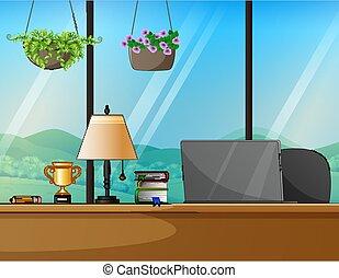 lugar de trabajo, hogar, trabajo del escritorio, computadora, concept.