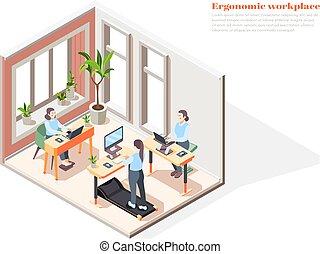 lugar de trabajo, isométrico, concepto, diseño, ergonómico