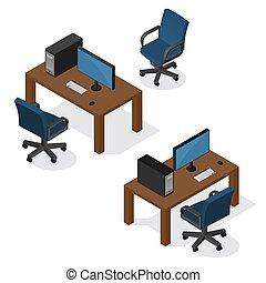 Lugar de trabajo isometrico con ordenador