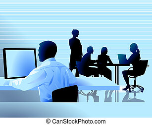 Lugar de trabajo y discusión grupal