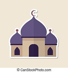 lugar, mezquita, vector, islámico, adoración