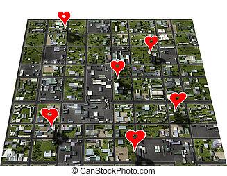 Lugares favoritos, marca de mapas