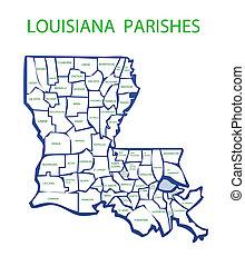 Luisiana con parroquias