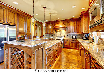 lujo, countertop., granito, madera, cocina