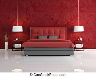 lujo, dormitorio, rojo