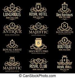 Lujos logos de cresta heráldica real