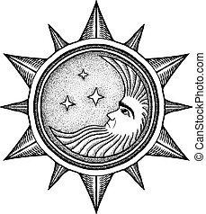 Luna con estrellas, ilustración vectorial estilizada como grabado