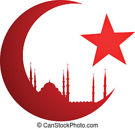 Luna creciente con mezquita