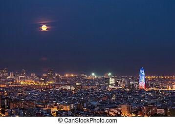 luna, lleno, españa, barcelona, noche