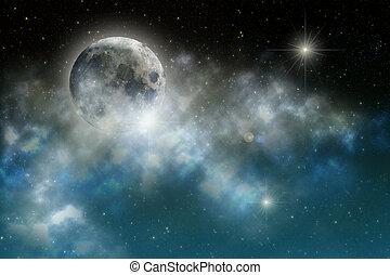 Luna por la noche en el cielo estrellado Elementos de esta imagen provista por la NASA