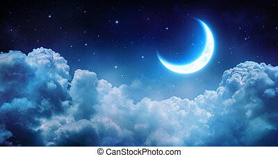 Luna romántica en la noche estrellada