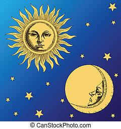 Luna solar y estrellas