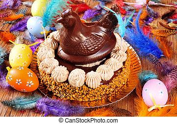 lunes, mona, de, pascua, adornado, comido, pastel, pascua, españa