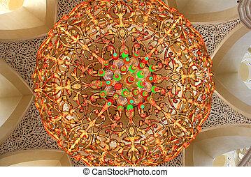 lustre, dentro, mezquita, zayed