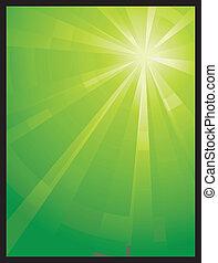 Luz asimétrica verde vertical reventada