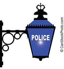 Luz azul de la estación de policía