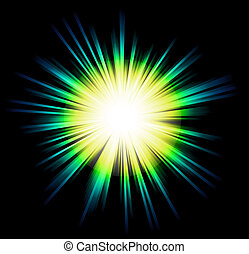 Luz brilla con colores del arco iris