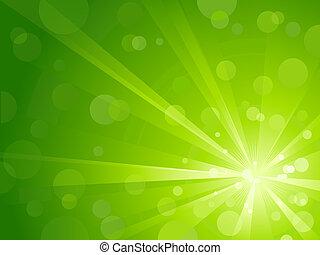 luz, brillante, verde, explosión