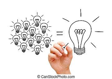 luz, concepto, trabajo en equipo, bombillas