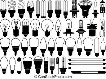 luz, conjunto, bombillas