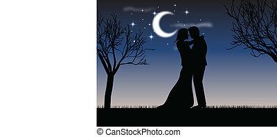 luz de la luna, beso